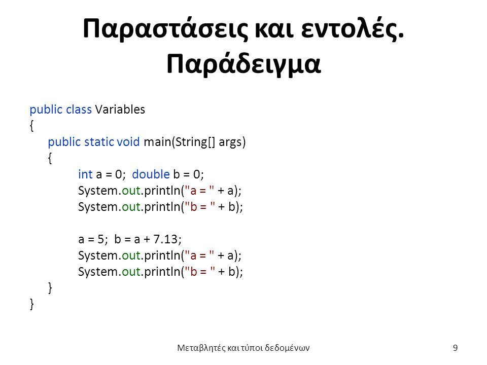 Ονόματα μεταβλητών  Ένα πρόγραμμα Java αναφέρεται σε μία μεταβλητή με το όνομά της.