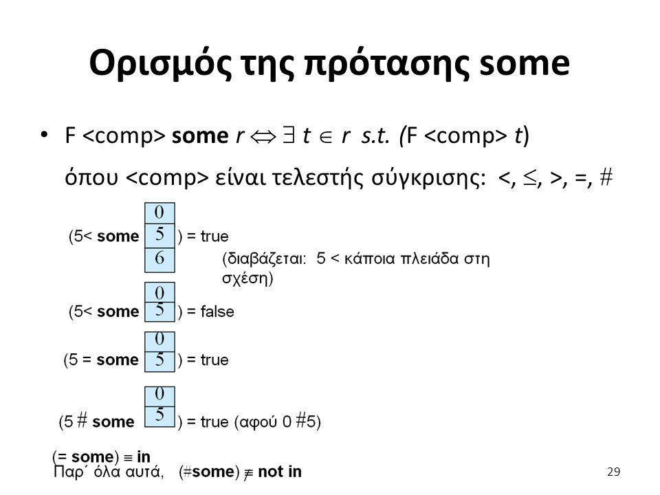 Ορισµός της πρότασης some F some r   t  r s.t. (F t) όπου είναι τελεστής σύγκρισης:, =,  29