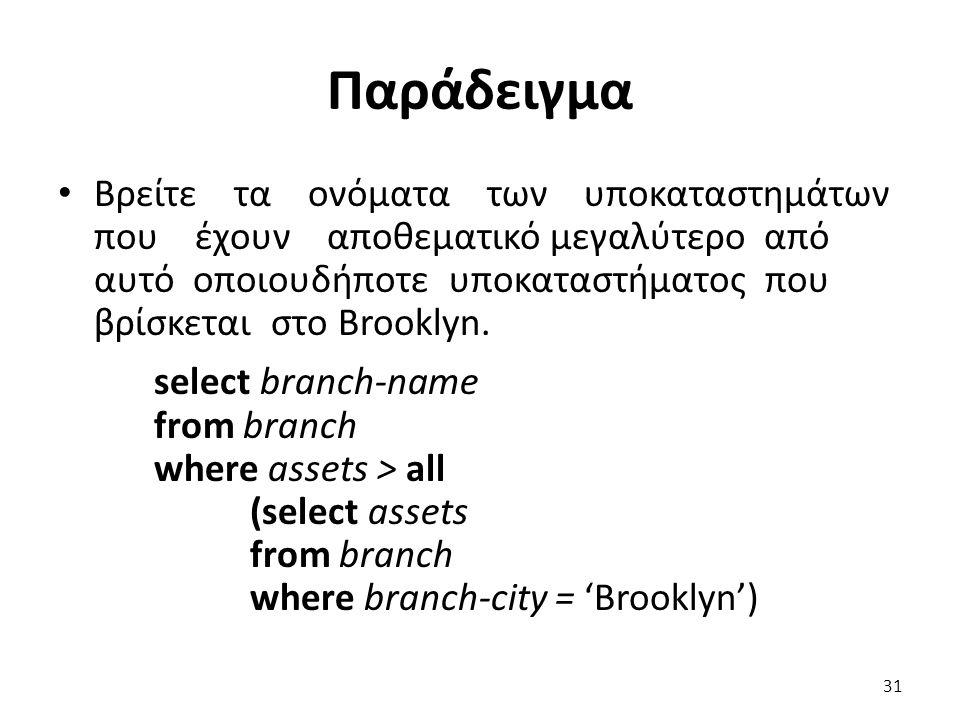 Παράδειγµα Βρείτε τα ονόµατα των υποκαταστηµάτων που έχουν αποθεµατικό µεγαλύτερο από αυτό οποιουδήποτε υποκαταστήµατος που βρίσκεται στο Brooklyn. se