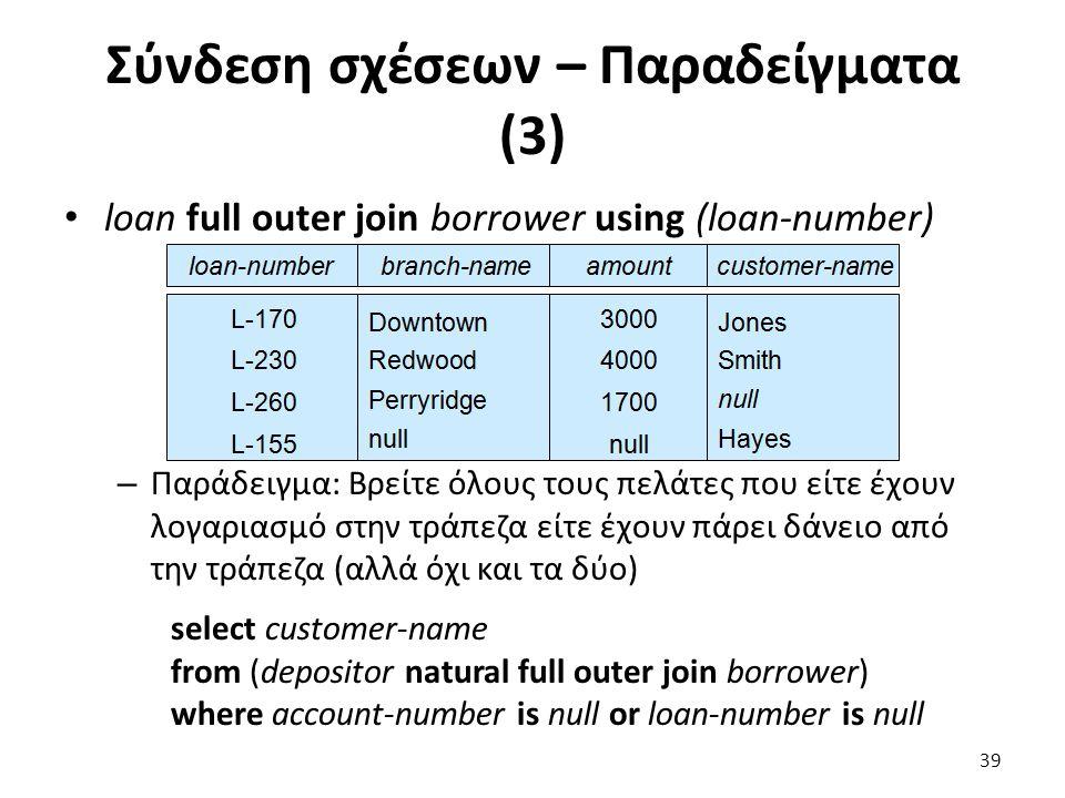 Σύνδεση σχέσεων – Παραδείγµατα (3) loan full outer join borrower using (loan-number) – Παράδειγµα: Βρείτε όλους τους πελάτες που είτε έχουν λογαριασµό