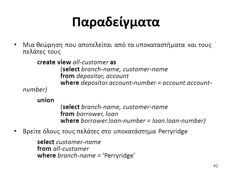 Παραδείγµατα Μια θεώρηση που αποτελείται από τα υποκαταστήµατα και τους πελάτες τους create view all-customer as (select branch-name, customer-name fr