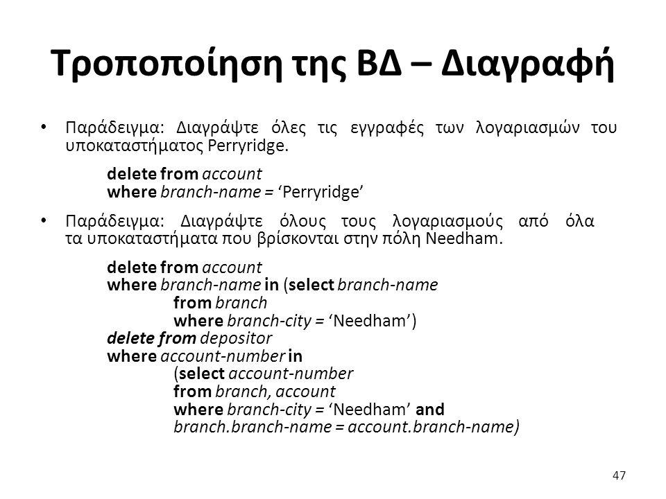 Τροποποίηση της Β∆ – ∆ιαγραφή Παράδειγµα: ∆ιαγράψτε όλες τις εγγραφές των λογαριασµών του υποκαταστήµατος Perryridge. delete from account where branch