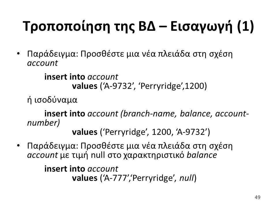 Τροποποίηση της Β∆ – Εισαγωγή (1) Παράδειγµα: Προσθέστε µια νέα πλειάδα στη σχέση account insert into account values ('A-9732', 'Perryridge',1200) ή ι