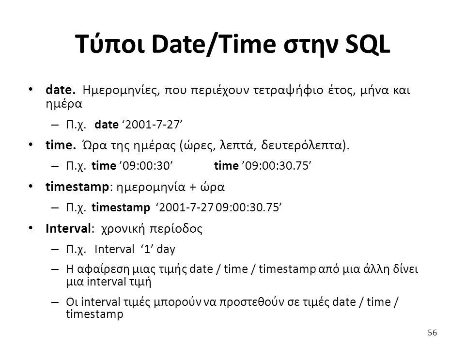 Τύποι Date/Time στην SQL date. Ηµεροµηνίες, που περιέχουν τετραψήφιο έτος, µήνα και ηµέρα – Π.χ. date '2001-7-27' time. Ώρα της ηµέρας (ώρες, λεπτά, δ