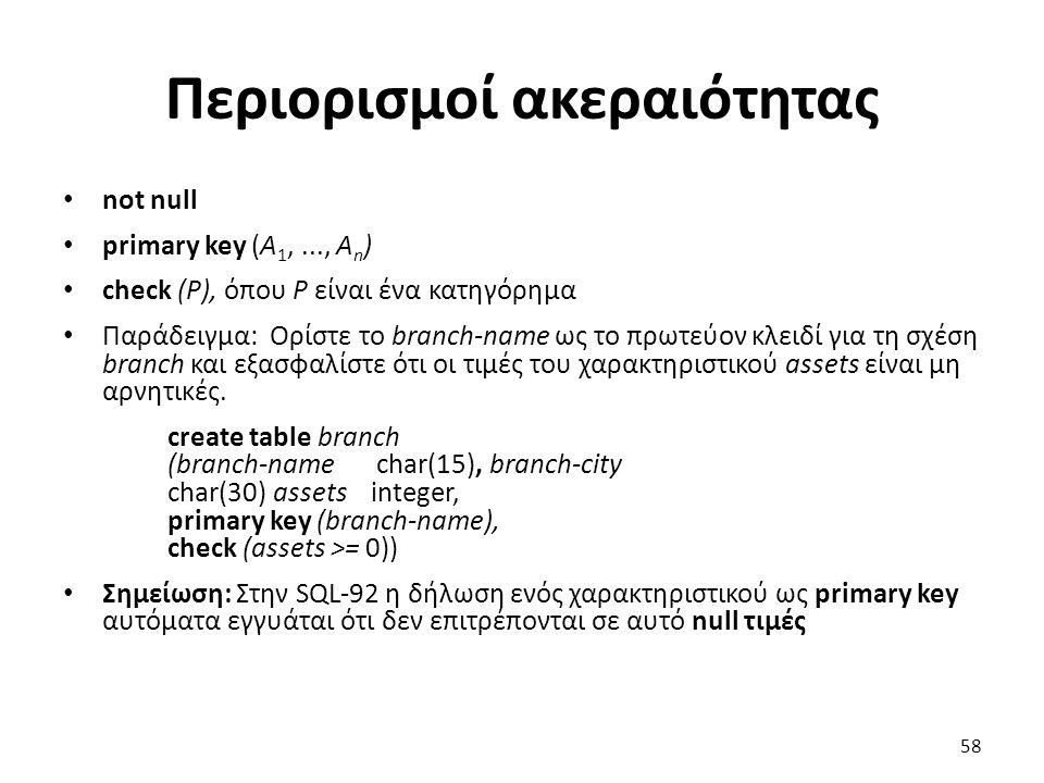 Περιορισµοί ακεραιότητας not null primary key (A 1,..., A n ) check (P), όπου P είναι ένα κατηγόρηµα Παράδειγµα: Ορίστε το branch-name ως το πρωτεύον