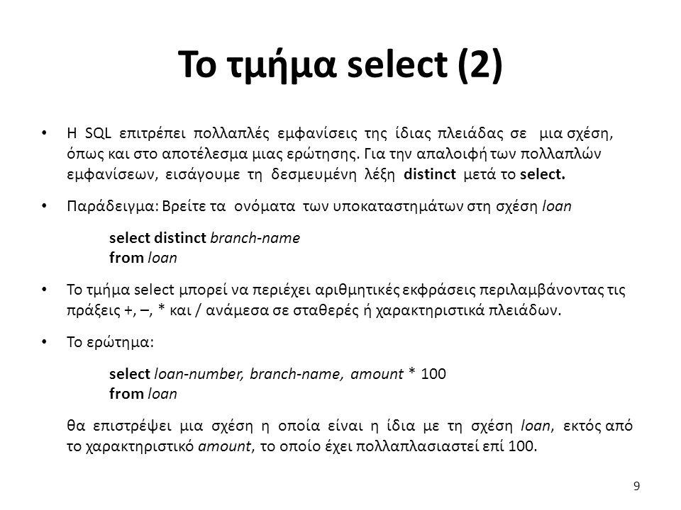Το τµήµα select (2) H SQL επιτρέπει πολλαπλές εµφανίσεις της ίδιας πλειάδας σε µια σχέση, όπως και στο αποτέλεσµα µιας ερώτησης. Για την απαλοιφή των