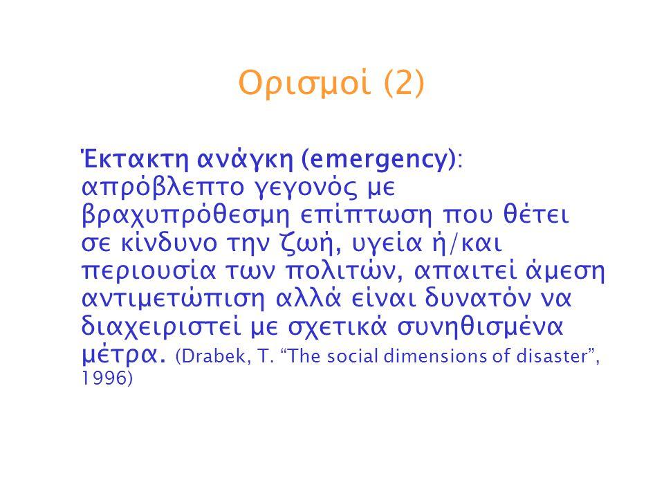 Ορισμοί (3) Καταστροφή (disaster): ένα γεγονός κατά το οποίο μία «κοινότητα» υφίσταται ή απειλείται να υποστεί ζημίες και απώλειες στην ζωή, την υγεία και την περιουσία των πολιτών τέτοιες ώστε οι δυνατότητές της σε ανθρώπινο δυναμικό και μέσα για την αντιμετώπιση της δημιουργηθείσας κατάστασης να μην επαρκούν.