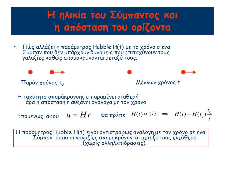 Η ηλικία του Σύμπαντος και η απόσταση του ορίζοντα Πώς αλλάζει η παράμετρος Hubble H(t) με το χρόνο σ ένα Σύμπαν που δεν υπάρχουν δυνάμεις που επιταχύνουν τους γαλαξίες καθώς απομακρύνονται μεταξύ τους; Παρόν χρόνος t 0 Μέλλων χρόνος t Η ταχύτητα απομάκρυνσης u παραμένει σταθερή άρα η απόσταση r αυξάνει ανάλογα με τον χρόνο Επομένως, αφού θα πρέπει Η παράμετρος Hubble H(t) είναι αντιστρόφως ανάλογη με τον χρόνο σε ένα Σύμπαν όπου οι γαλαξίες απομακρύνονται μεταξύ τους ελεύθερα (χωρίς αλληλεπιδράσεις).
