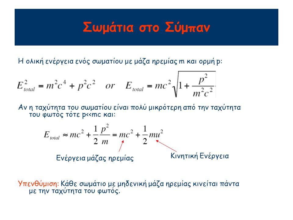 Σωμάτια στο Σύμπαν Η ολική ενέργεια ενός σωματίου με μάζα ηρεμίας m και ορμή p: Αν η ταχύτητα του σωματίου είναι πολύ μικρότερη από την ταχύτητα του φωτός τότε p<<mc και: Ενέργεια μάζας ηρεμίας Κινητική Ενέργεια Υπενθύμιση: Κάθε σωμάτιο με μηδενική μάζα ηρεμίας κινείται πάντα με την ταχύτητα του φωτός.