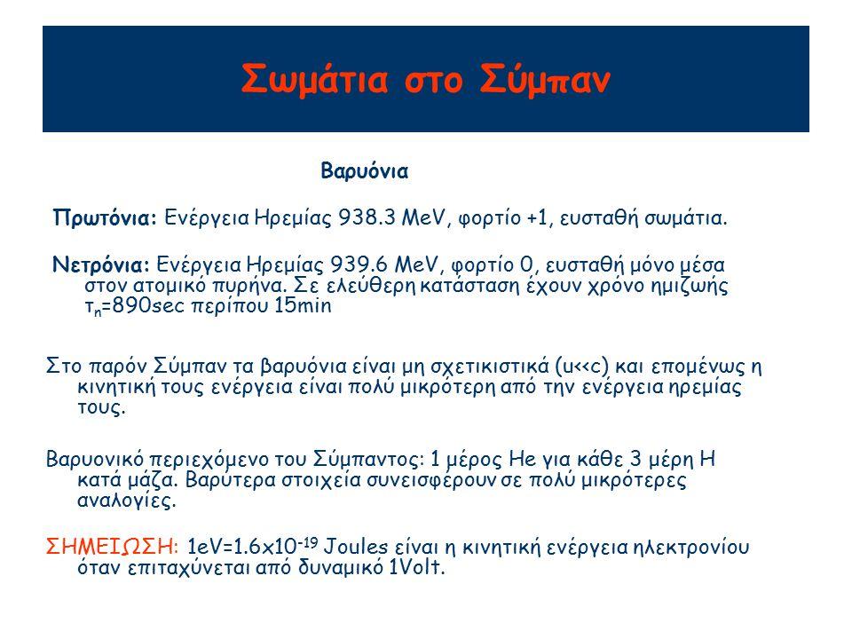 Σωμάτια στο Σύμπαν Πρωτόνια: Ενέργεια Ηρεμίας 938.3 MeV, φορτίο +1, ευσταθή σωμάτια.