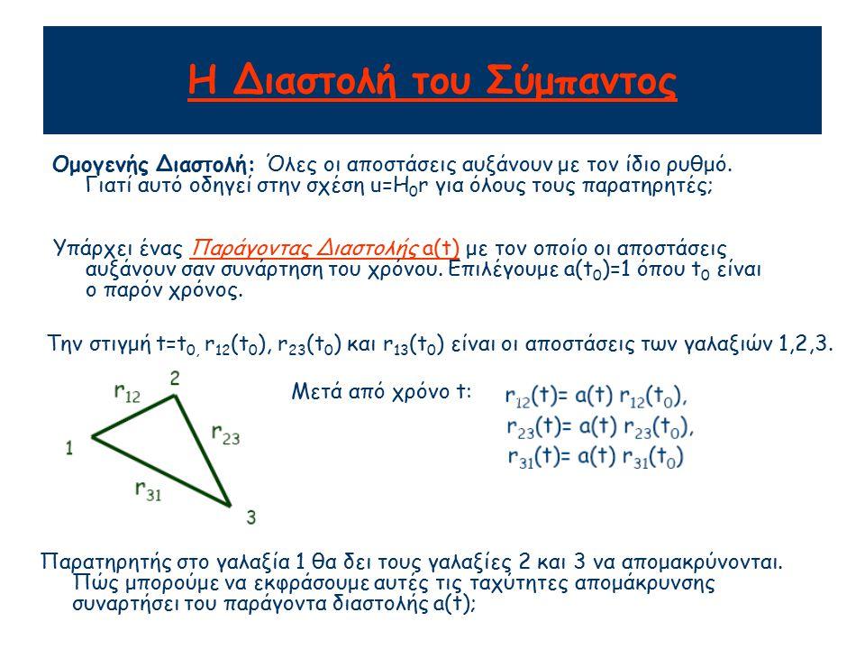Η Διαστολή του Σύμπαντος Παίρνουμε την χρονική παράγωγο των Επομένως, όταν η διαστολή είναι ομογενής, η ταχύτητα είναι ανάλογη της απόστασης Παρατηρησιακά βρήκαμε: Επομένως κατά την παρούσα χρονική στιγμή t 0
