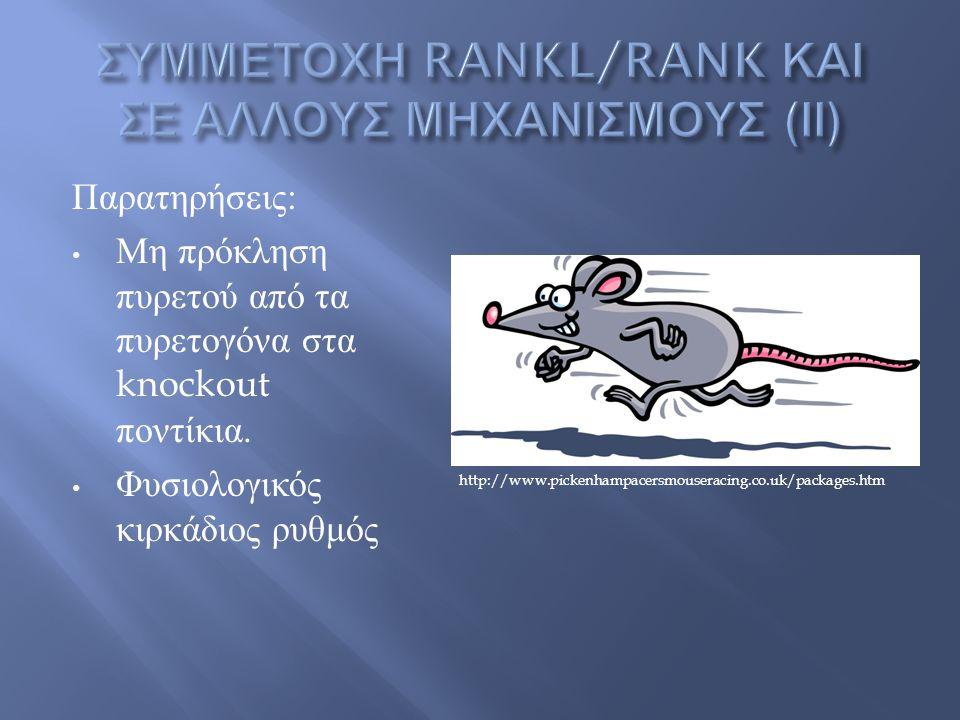 Παρατηρήσεις : Μη πρόκληση πυρετού από τα πυρετογόνα στα knockout ποντίκια.