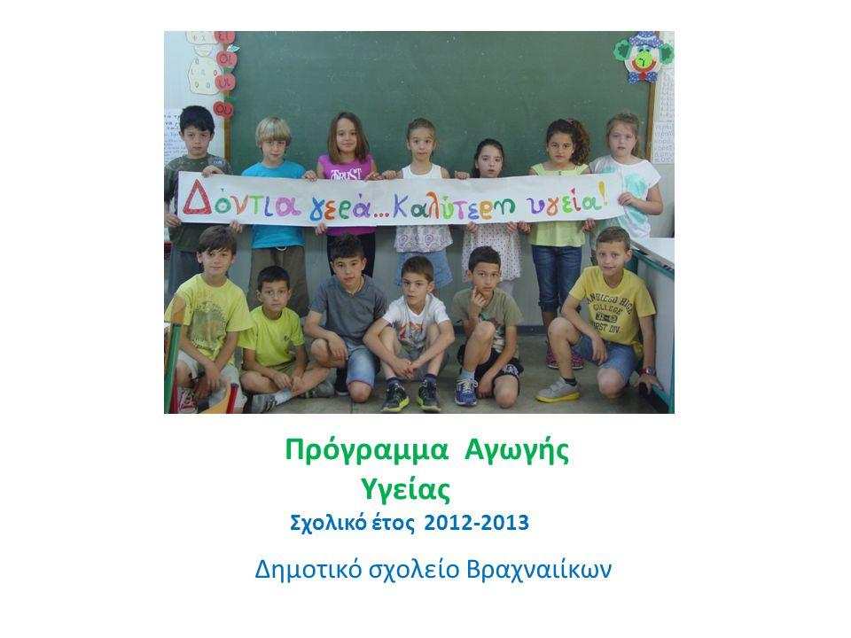 Πρόγραμμα Αγωγής Υγείας Σχολικό έτος 2012-2013 Δημοτικό σχολείο Βραχναιίκων