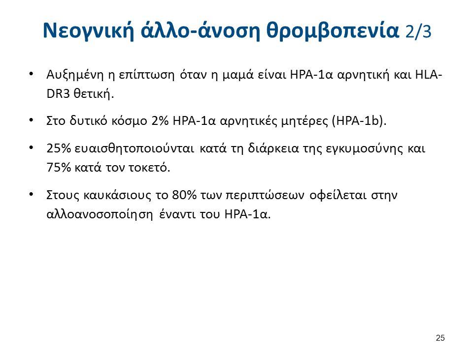 Νεογνική άλλο-άνοση θρομβοπενία 2/3 Αυξημένη η επίπτωση όταν η μαμά είναι ΗΡΑ-1α αρνητική και HLA- DR3 θετική.