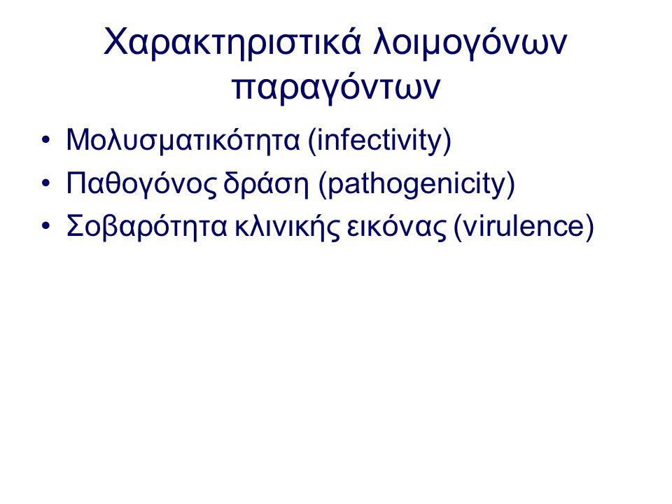 Χαρακτηριστικά λοιμογόνων παραγόντων Μολυσματικότητα (infectivity) Παθογόνος δράση (pathogenicity) Σοβαρότητα κλινικής εικόνας (virulence)