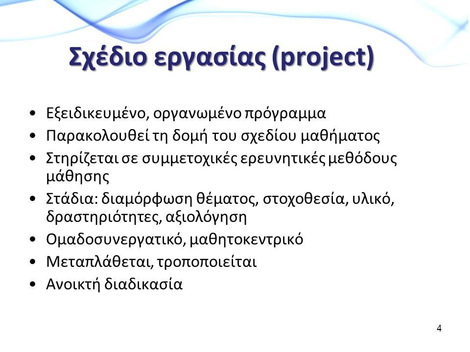 Σχέδιο εργασίας (project) Εξειδικευμένο, οργανωμένο πρόγραμμα Παρακολουθεί τη δομή του σχεδίου μαθήματος Στηρίζεται σε συμμετοχικές ερευνητικές μεθόδους μάθησης Στάδια: διαμόρφωση θέματος, στοχοθεσία, υλικό, δραστηριότητες, αξιολόγηση Ομαδοσυνεργατικό, μαθητοκεντρικό Μεταπλάθεται, τροποποιείται Ανοικτή διαδικασία 4