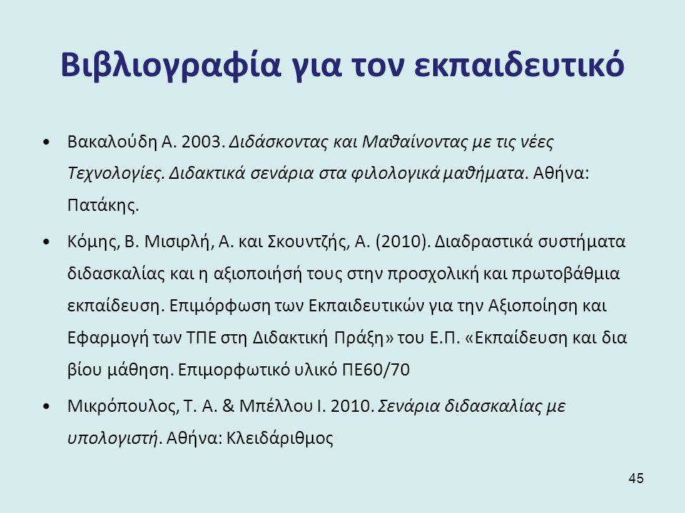 Βιβλιογραφία για τον εκπαιδευτικό Βακαλούδη Α.2003.