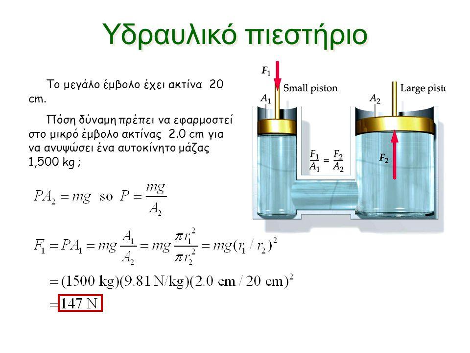 Χρησιμοποιώντας τον τύπο : P=F/A Ποιο είναι το εμβαδόν του εμβόλου Α2 ; Απάντηση : P1 = 10N / 5cm2 = 2 N/cm 2 P2=F2/A2 A2 = F2 / P2 = 100N / 2 N/cm 2