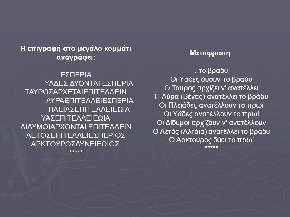 Ανακατασκευή Ομάδα «Πυξίδα»: Βέργος Γεώργιος Γείτονα Μαρία Δαρδαμάνη Σοφία Διαμάντης Δημήτρης Ο Μηχανισμός των Αντικυθήρων Προσομοιώσεις Προσομοιώσεις