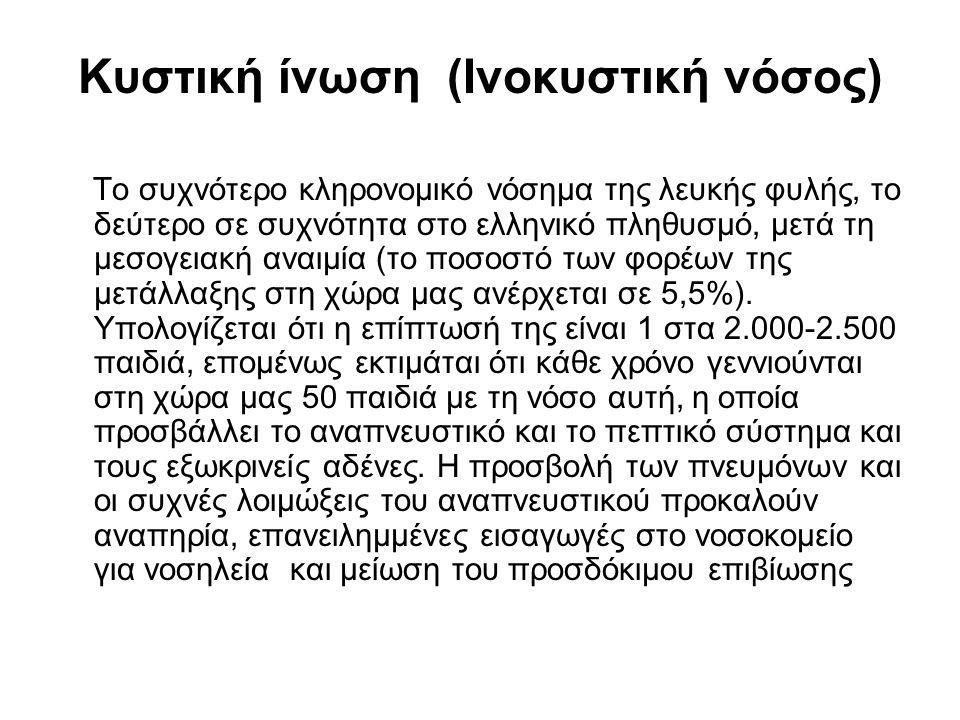 Κυστική ίνωση (Ινοκυστική νόσος) Το συχνότερο κληρονομικό νόσημα της λευκής φυλής, το δεύτερο σε συχνότητα στο ελληνικό πληθυσμό, μετά τη μεσογειακή α