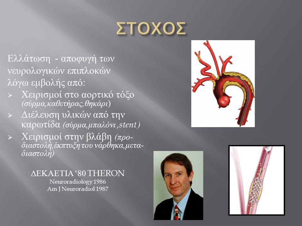Ελλάτωση - αποφυγή των νευρολογικών επιπλοκών λόγω εμβολής από :  Χειρισμοί στο αορτικό τόξο ( σύρμα, καθετήρας, θηκάρι )  Διέλευση υλικών από την καρωτίδα ( σύρμα, μπαλόνι,stent )  Χειρισμοί στην βλάβη ( προ - διαστολή, έκπτυξη του νάρθηκα, μετα - διαστολή ) ΔΕΚΑΕΤΙΑ '80 THERON Neuroradiology 1986 Am J Neuroradiol 1987