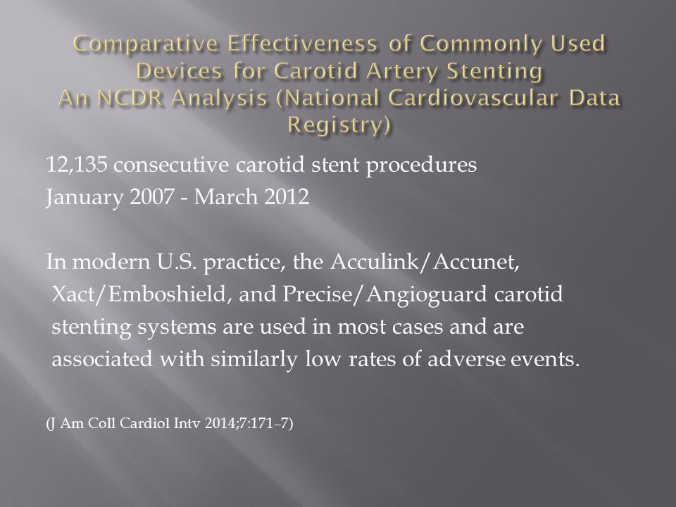 12,135 consecutive carotid stent procedures January 2007 - March 2012 In modern U.S.
