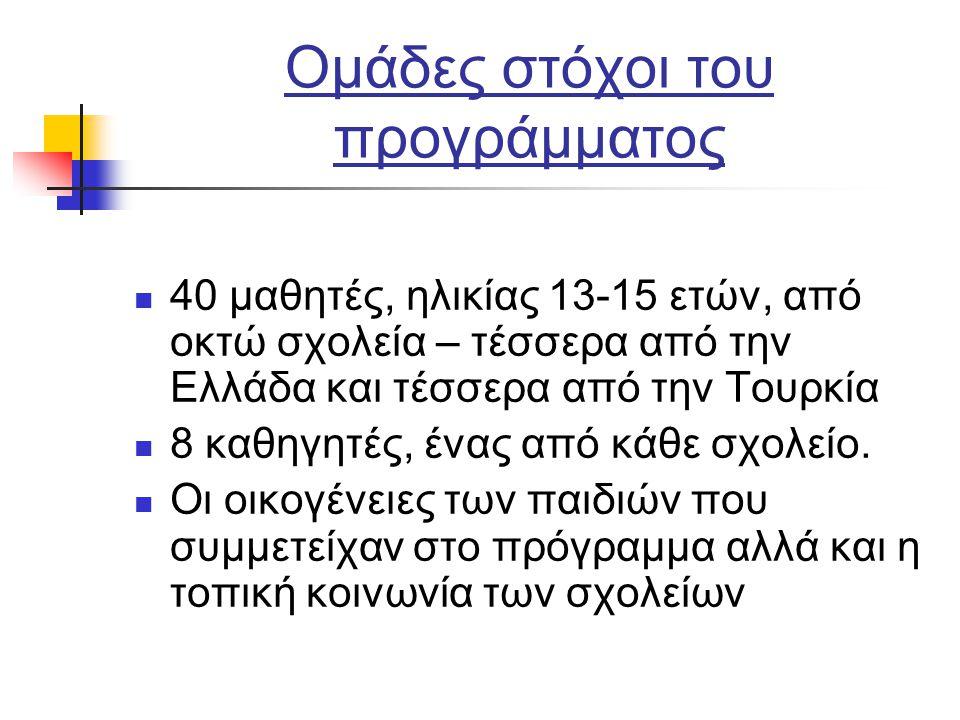 Ομάδες στόχοι του προγράμματος 40 μαθητές, ηλικίας 13-15 ετών, από οκτώ σχολεία – τέσσερα από την Ελλάδα και τέσσερα από την Τουρκία 8 καθηγητές, ένας