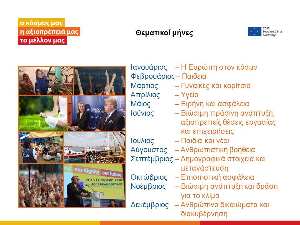 Ιανουάριος – Η Ευρώπη στον κόσμο Φεβρουάριος– Παιδεία Μάρτιος– Γυναίκες και κορίτσια Απρίλιος – Υγεία Μάιος – Ειρήνη και ασφάλεια Ιούνιος – Βιώσιμη πράσινη ανάπτυξη, αξιοπρεπείς θέσεις εργασίας και επιχειρήσεις Ιούλιος – Παιδιά και νέοι Αύγουστος – Ανθρωπιστική βοήθεια Σεπτέμβριος – Δημογραφικά στοιχεία και μετανάστευση Οκτώβριος – Επισιτιστική ασφάλεια Νοέμβριος – Βιώσιμη ανάπτυξη και δράση για το κλίμα Δεκέμβριος – Ανθρώπινα δικαιώματα και διακυβέρνηση Θεματικοί μήνες