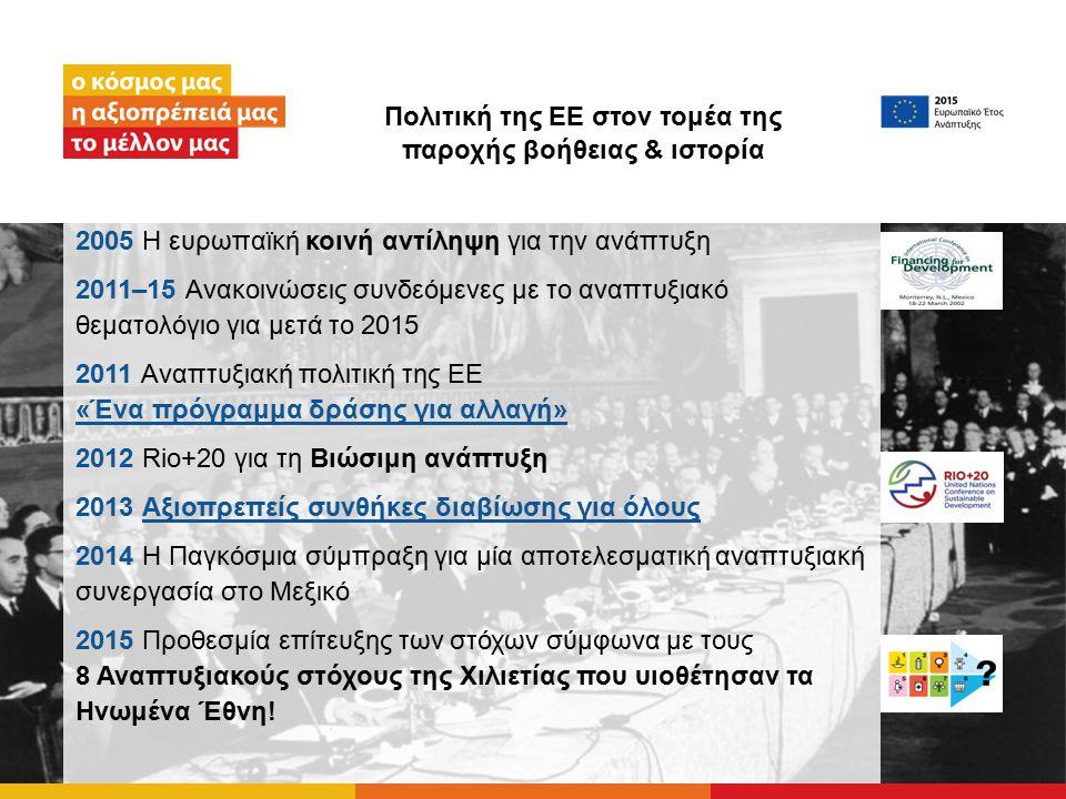 Πολιτική της ΕΕ στον τομέα της παροχής βοήθειας & ιστορία 2005 Η ευρωπαϊκή κοινή αντίληψη για την ανάπτυξη 2011–15 Ανακοινώσεις συνδεόμενες με το αναπτυξιακό θεματολόγιο για μετά το 2015 2011 Αναπτυξιακή πολιτική της ΕΕ «Ένα πρόγραμμα δράσης για αλλαγή» «Ένα πρόγραμμα δράσης για αλλαγή» 2012 Rio+20 για τη Βιώσιμη ανάπτυξη 2013 Αξιοπρεπείς συνθήκες διαβίωσης για όλουςΑξιοπρεπείς συνθήκες διαβίωσης για όλους 2014 Η Παγκόσμια σύμπραξη για μία αποτελεσματική αναπτυξιακή συνεργασία στο Μεξικό 2015 Προθεσμία επίτευξης των στόχων σύμφωνα με τους 8 Αναπτυξιακούς στόχους της Χιλιετίας που υιοθέτησαν τα Ηνωμένα Έθνη!