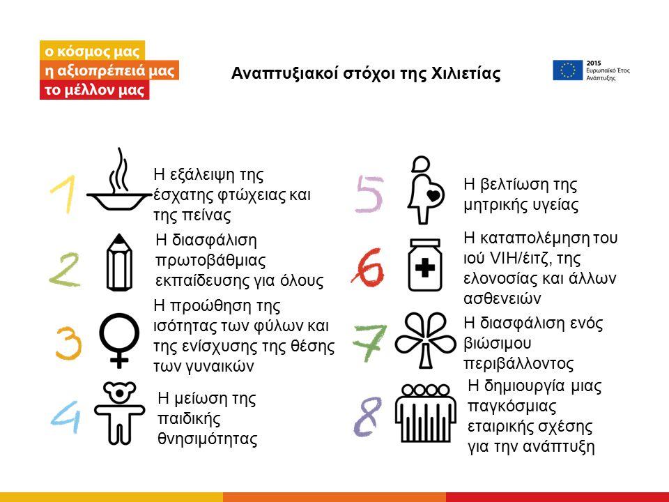 Αναπτυξιακοί στόχοι της Χιλιετίας Η εξάλειψη της έσχατης φτώχειας και της πείνας Η διασφάλιση πρωτοβάθμιας εκπαίδευσης για όλους Η προώθηση της ισότητας των φύλων και της ενίσχυσης της θέσης των γυναικών Η μείωση της παιδικής θνησιμότητας Η βελτίωση της μητρικής υγείας Η καταπολέμηση του ιού VIH/έιτζ, της ελονοσίας και άλλων ασθενειών Η διασφάλιση ενός βιώσιμου περιβάλλοντος H δημιουργία μιας παγκόσμιας εταιρικής σχέσης για την ανάπτυξη