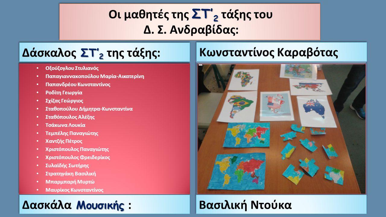 Οι μαθητές ολοήμερου τμήματος του Δ. Σ. Ανδραβίδας: Δασκάλα του ολοήμερου: Χριστίνα Καπράλου Χαράλαμπος Καπατσούλιας Ροζίτα Μουχαμετάι Σπύρος Παλαιοθό
