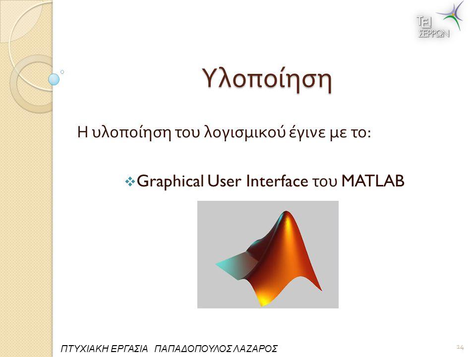 Υλοποίηση Η υλοποίηση του λογισμικού έγινε με το :  Graphical User Interface του MATLAB 14 ΠΤΥΧΙΑΚΗ ΕΡΓΑΣΙΑ ΠΑΠΑΔΟΠΟΥΛΟΣ ΛΑΖΑΡΟΣ