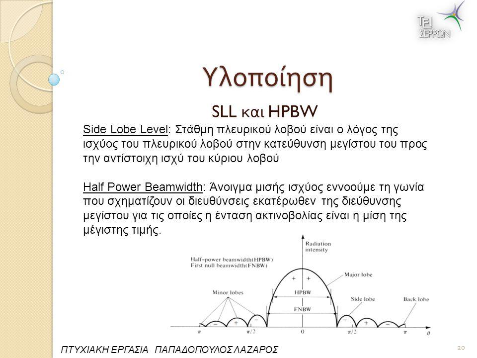 Υλοποίηση SLL και HPBW 20 ΠΤΥΧΙΑΚΗ ΕΡΓΑΣΙΑ ΠΑΠΑΔΟΠΟΥΛΟΣ ΛΑΖΑΡΟΣ Side Lobe Level: Στάθμη πλευρικού λοβού είναι ο λόγος της ισχύος του πλευρικού λοβού στην κατεύθυνση μεγίστου του προς την αντίστοιχη ισχύ του κύριου λοβού Half Power Beamwidth: Άνοιγμα μισής ισχύος εννοούμε τη γωνία που σχηματίζουν οι διευθύνσεις εκατέρωθεν της διεύθυνσης μεγίστου για τις οποίες η ένταση ακτινοβολίας είναι η μίση της μέγιστης τιμής.