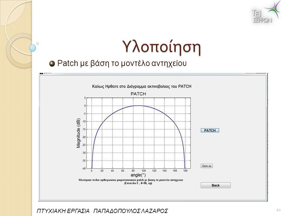 Υλοποίηση Patch με βάση το μοντέλο αντηχείου 21 ΠΤΥΧΙΑΚΗ ΕΡΓΑΣΙΑ ΠΑΠΑΔΟΠΟΥΛΟΣ ΛΑΖΑΡΟΣ