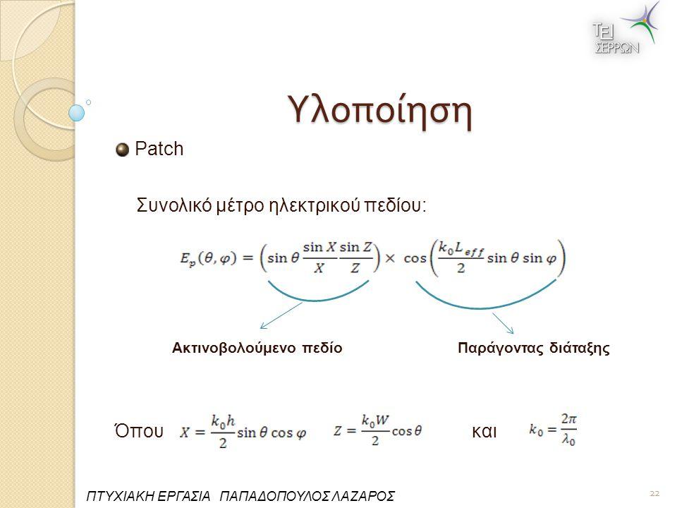 Υλοποίηση Patch Συνολικό μέτρο ηλεκτρικού πεδίου: Ακτινοβολούμενο πεδίο Παράγοντας διάταξης Όπου και 22 ΠΤΥΧΙΑΚΗ ΕΡΓΑΣΙΑ ΠΑΠΑΔΟΠΟΥΛΟΣ ΛΑΖΑΡΟΣ