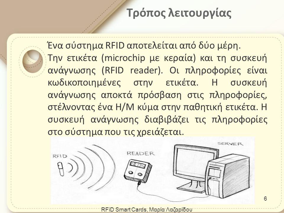 Καταστήματα (εμπορεύματα-αντικλεπτικό σύστημα) Αυτόματα Διόδια Αυτοκίνητα (σύστημα ανάφλεξης RFID χωρίς κλειδί) Αθλητικές δραστηριότητες (καταγραφή χρόνου τερματισμού αθλητών) Βιβλιοθήκες Εφαρμογές της τεχνολογίας RFID RFiD Smart Cards, Μαρία Λαζαρίδου 7