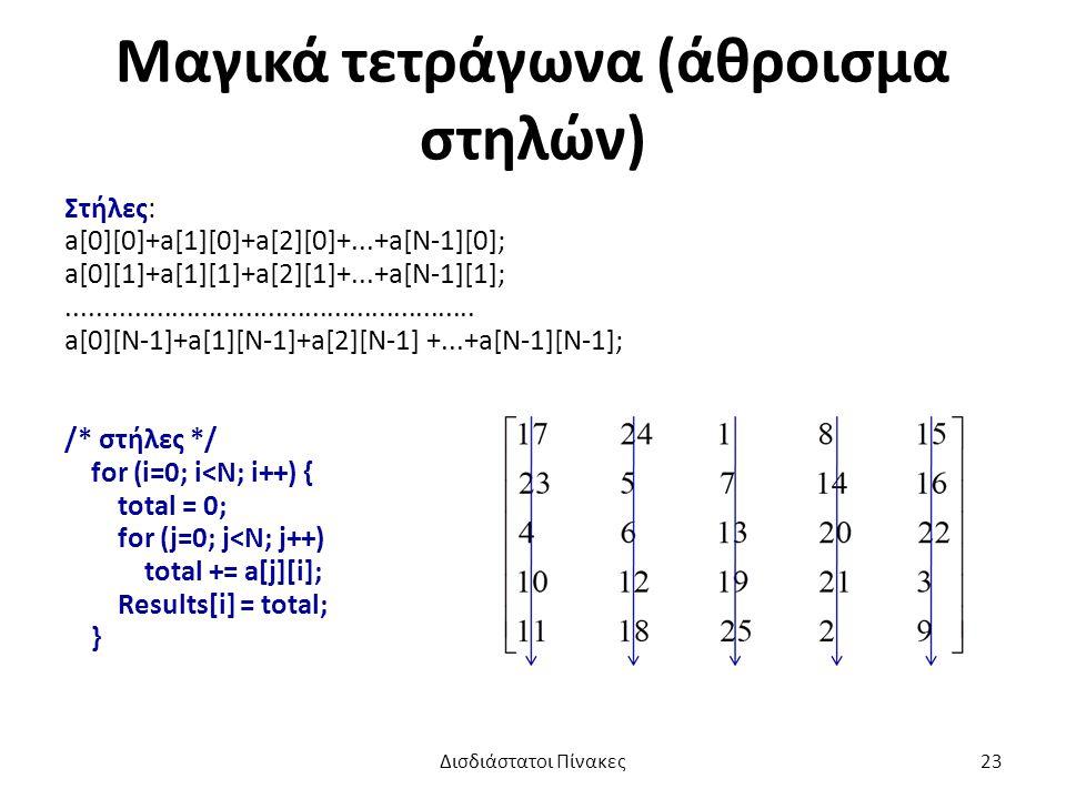 Μαγικά τετράγωνα (άθροισμα στηλών) Στήλες: a[0][0]+a[1][0]+a[2][0]+...+a[N-1][0]; a[0][1]+a[1][1]+a[2][1]+...+a[N-1][1];.......................................................