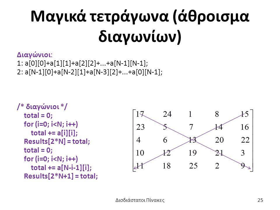 Μαγικά τετράγωνα (άθροισμα διαγωνίων) Διαγώνιοι: 1: a[0][0]+a[1][1]+a[2][2]+...+a[N-1][N-1]; 2: a[N-1][0]+a[N-2][1]+a[N-3][2]+...+a[0][N-1]; /* διαγώνιοι */ total = 0; for (i=0; i<N; i++) total += a[i][i]; Results[2*N] = total; total = 0; for (i=0; i<N; i++) total += a[N-i-1][i]; Results[2*N+1] = total; Δισδιάστατοι Πίνακες25