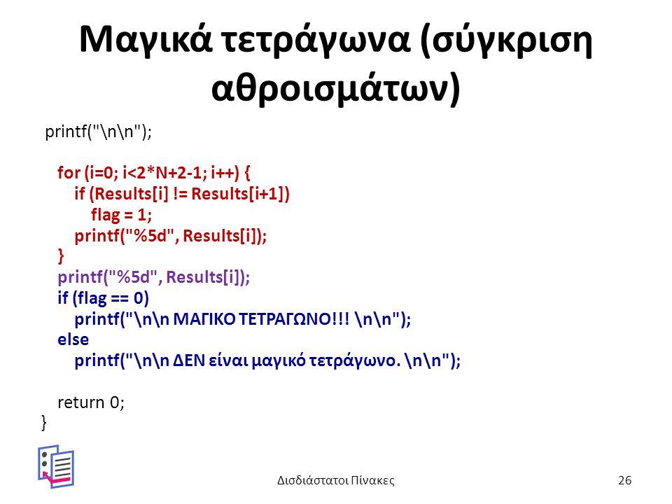 Μαγικά τετράγωνα (σύγκριση αθροισμάτων) printf( \n\n ); for (i=0; i<2*N+2-1; i++) { if (Results[i] != Results[i+1]) flag = 1; printf( %5d , Results[i]); } printf( %5d , Results[i]); if (flag == 0) printf( \n\n ΜΑΓΙΚΟ ΤΕΤΡΑΓΩΝΟ!!.