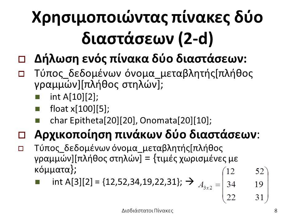 Χρησιμοποιώντας πίνακες δύο διαστάσεων (2-d)  Δήλωση ενός πίνακα δύο διαστάσεων:  Τύπος_δεδομένων όνομα_μεταβλητής[πλήθος γραμμών][πλήθος στηλών]; int A[10][2]; float x[100][5]; char Epitheta[20][20], Onomata[20][10];  Αρχικοποίηση πινάκων δύο διαστάσεων:  Τύπος_δεδομένων όνομα_μεταβλητής[πλήθος γραμμών][πλήθος στηλών] = { τιμές χωρισμένες με κόμματα }; int A[3][2] = {12,52,34,19,22,31};  Δισδιάστατοι Πίνακες8
