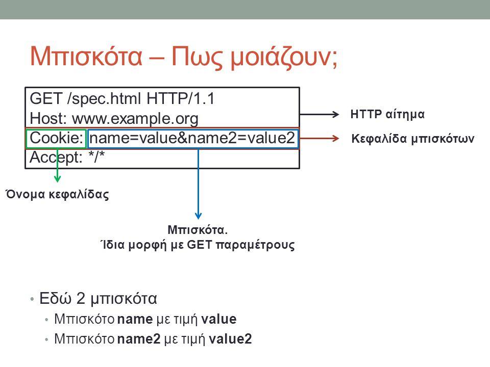 Μπισκότα – Πως μοιάζουν; GET /spec.html HTTP/1.1 Host: www.example.org Cookie: name=value&name2=value2 Accept: */* Εδώ 2 μπισκότα Μπισκότο name με τιμή value Μπισκότο name2 με τιμή value2 HTTP αίτημα Κεφαλίδα μπισκότων Μπισκότα.