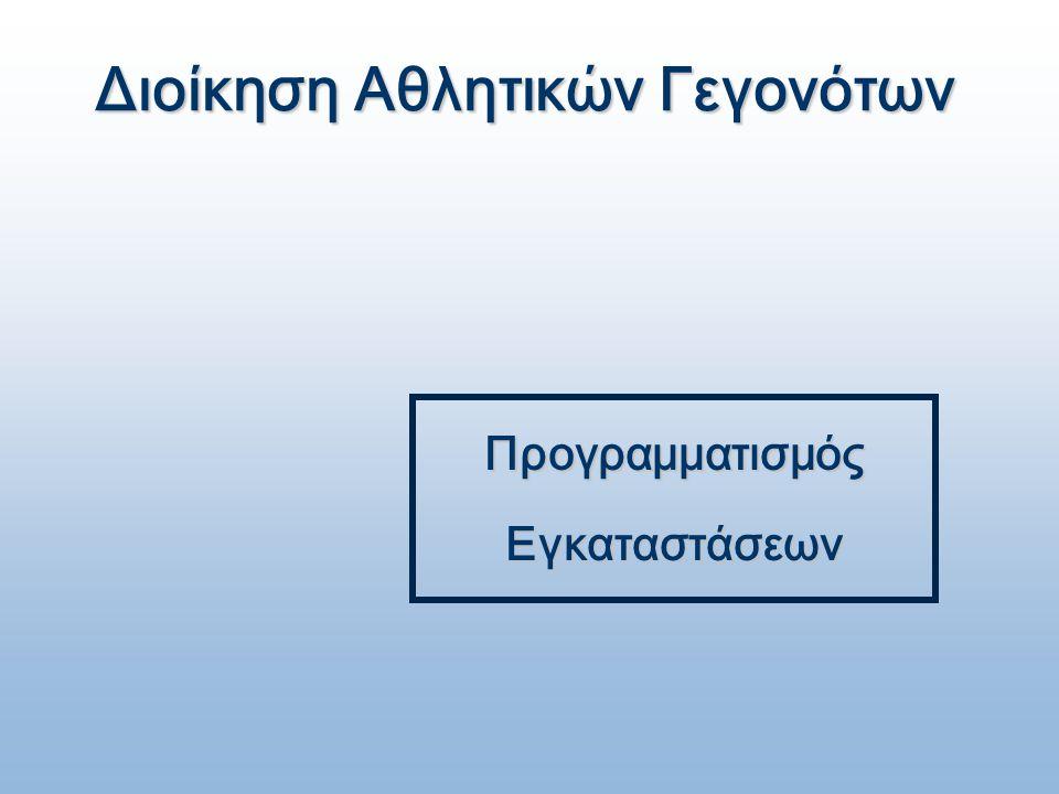 Διοίκηση Αθλητικών Γεγονότων Προγραμματισμός Εγκαταστάσεων