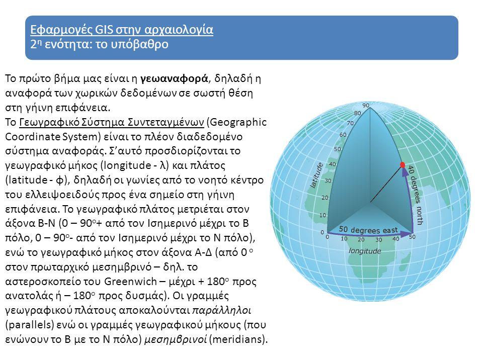 Εφαρμογές GIS στην αρχαιολογία 2 η ενότητα: το υπόβαθρο Το πρώτο βήμα μας είναι η γεωαναφορά, δηλαδή η αναφορά των χωρικών δεδομένων σε σωστή θέση στη