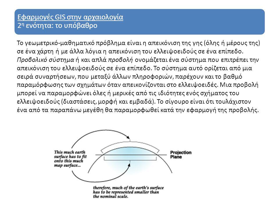 Εφαρμογές GIS στην αρχαιολογία 2 η ενότητα: το υπόβαθρο Υπάρχουν πολλά προβολικά συστήματα συντεταγμένων (projected coordinate systems).