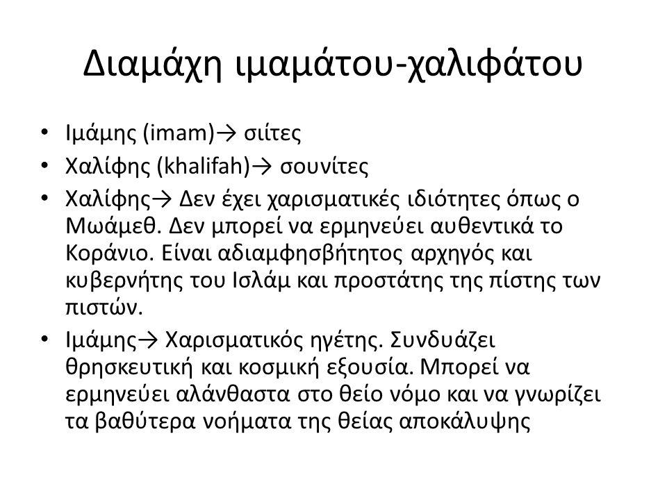 Διαμάχη ιμαμάτου-χαλιφάτου Ιμάμης (imam)→ σιίτες Χαλίφης (khalifah)→ σουνίτες Χαλίφης→ Δεν έχει χαρισματικές ιδιότητες όπως ο Μωάμεθ. Δεν μπορεί να ερ
