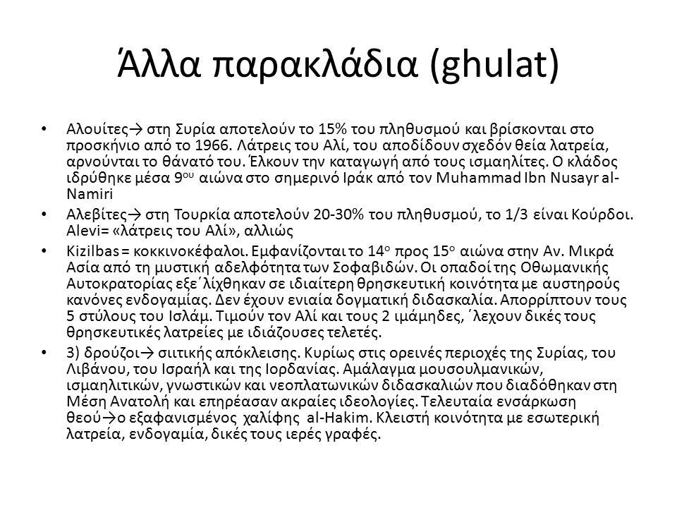 Άλλα παρακλάδια (ghulat) Αλουίτες→ στη Συρία αποτελούν το 15% του πληθυσμού και βρίσκονται στο προσκήνιο από το 1966. Λάτρεις του Αλί, του αποδίδουν σ