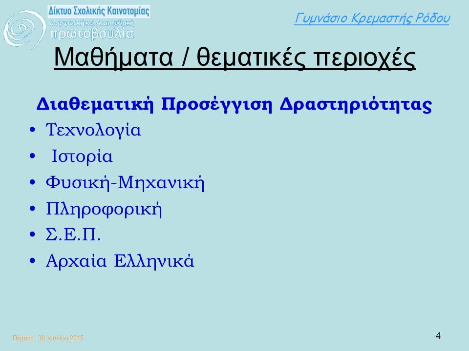 Γυμνάσιο Κρεμαστής Ρόδου Πέμπτη, 30 Ιουλίου 2015 5 Συντελεστές Εκπαιδευτικοί: Χαράλαμπος Συργιάννης (Υπεύθυνος ΓραΣΕΠ- Τεχνολόγος) Τοδουλάκη-Παυλίδη Αθανασία (Διευθύντρια- Φιλόλογος) Δημητρίου Θεοδώρα (Βιολόγος) Πατέλλης Δημήτριος (Πληροφορικής) Σχολεία: Γυμνάσιο Κρεμαστής