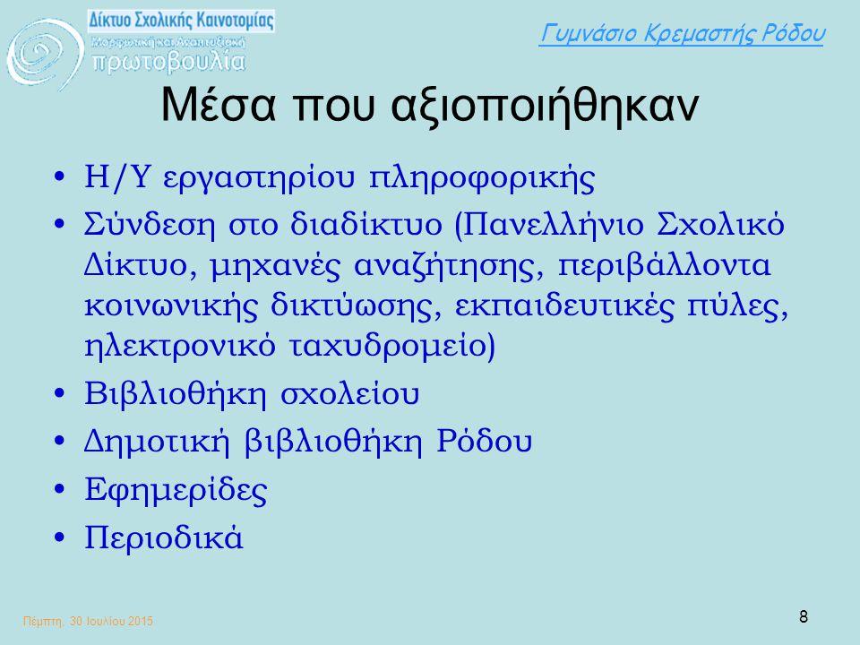 Γυμνάσιο Κρεμαστής Ρόδου Πέμπτη, 30 Ιουλίου 2015 9 Μέθοδοι που εφαρμόστηκαν Με τα παιδιά: Εργασίες σε ομάδες/υποομάδες Μέθοδος Project - Σχεδίου Έρευνας Αλληλοαξιολόγησης (Παρουσίαση εργασιών από υποομάδες) Με συναδέρφους: Συνεργασία στο συντονισμό των ομάδων Επιμέλεια σύνταξης τελικής εργασίας από φιλολόγους Με τους γονείς: Υποστήριξη (πρακτική και στο επίπεδο της παροχής βοήθειας, μετακίνησης και μέσων – πηγών πληροφορίας)