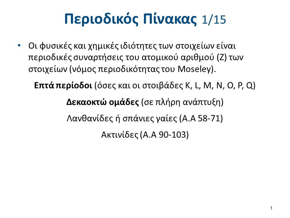 Περιοδικός Πίνακας 1/15 Οι φυσικές και χημικές ιδιότητες των στοιχείων είναι περιοδικές συναρτήσεις του ατομικού αριθμού (Ζ) των στοιχείων (νόμος περι