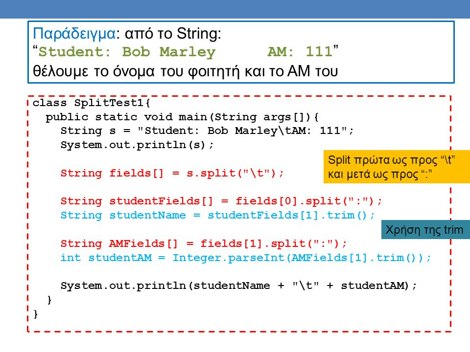 class SplitTest1{ public static void main(String args[]){ String s = Student: Bob Marley\tAM: 111 ; System.out.println(s); String fields[] = s.split( \t ); String studentFields[] = fields[0].split( : ); String studentName = studentFields[1].trim(); String AMFields[] = fields[1].split( : ); int studentAM = Integer.parseInt(AMFields[1].trim()); System.out.println(studentName + \t + studentAM); } } Παράδειγμα: από το String: Student: Bob MarleyAM: 111 θέλουμε το όνομα του φοιτητή και το ΑΜ του Split πρώτα ως προς \t και μετά ως προς : Χρήση της trim